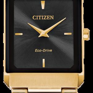 Brand New Citizen Eco Drive Stiletto Gold Tone Sqaure Watch AR3102-51E
