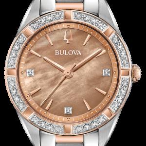 Brand New Bulova Sutton Diamond 2 Tone Sapphire Crystal  Ladies watch 98R264